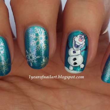 Frozen Olaf nail art by Margriet Sijperda