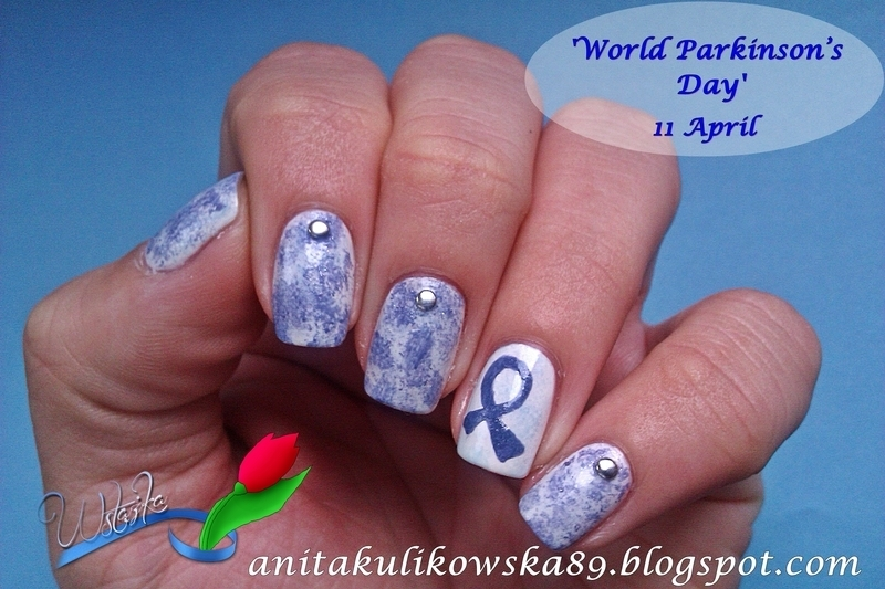 Blue Ribbon  nail art by Anita