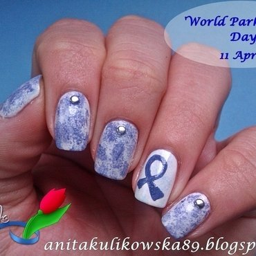 Blue Ribbon  nail art by Anita