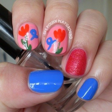 Tulips and Ribbons For World Parkinson's Day nail art by Lisa N