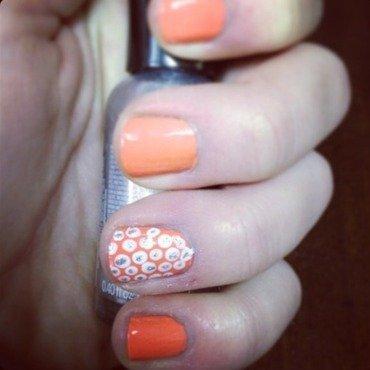 Orange and dots nail art by Kayla
