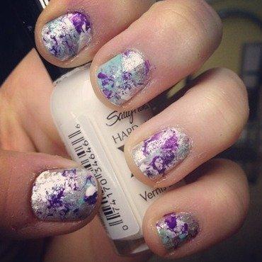 Paint Splatter on Silver nail art by Kayla