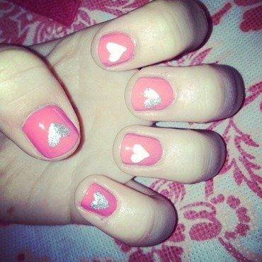 Valentines Hearts nail art by Kayla