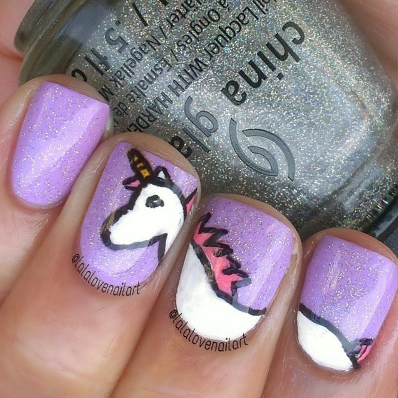 Unicorn Sparkles nail art by Jessica Byles