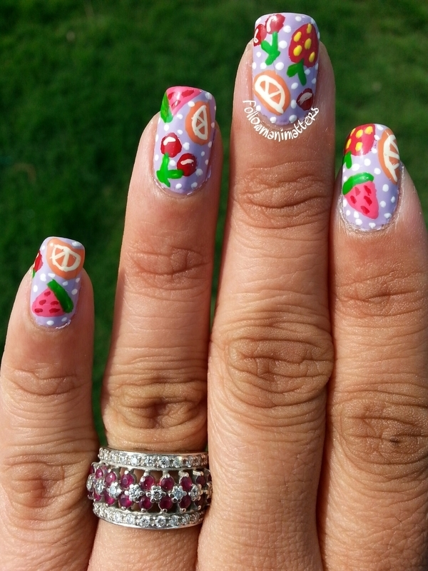 Mixed Fruit Nails nail art by Manisha Manimatters