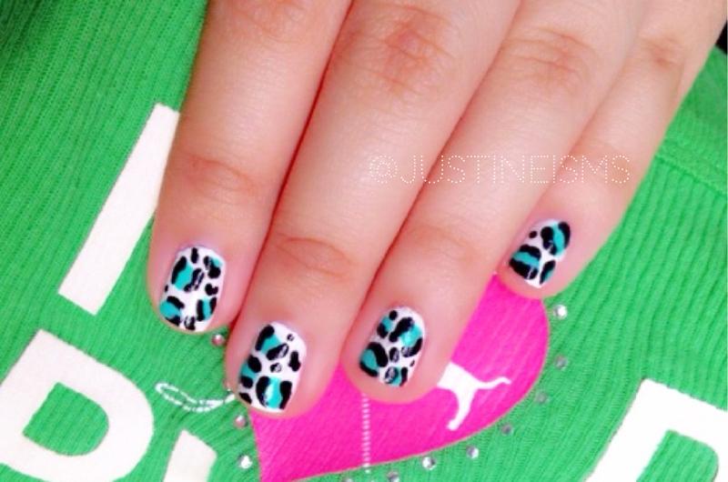 Mint Green Leopard Print Nail Art nail art by ℐustine