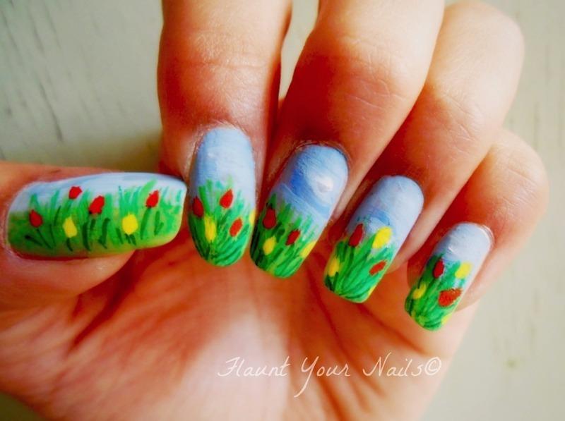 Tulips for Parkinson's Awareness month nail art by Vidula Kulkarni