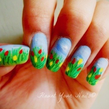 Tulips for Parkinson's Awareness month nail art by Vidula Kulkarni