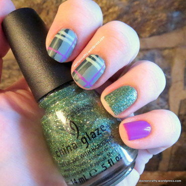 Matte Purple & Green Plaid nail art by Nicole