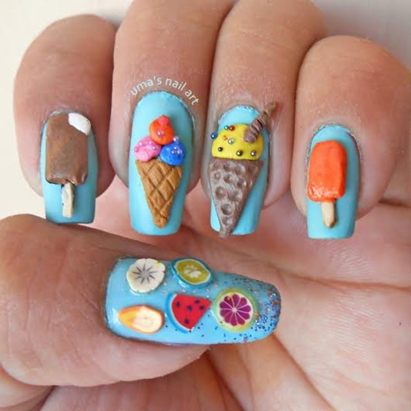 3D ice cream nail art nail art by Uma mathur