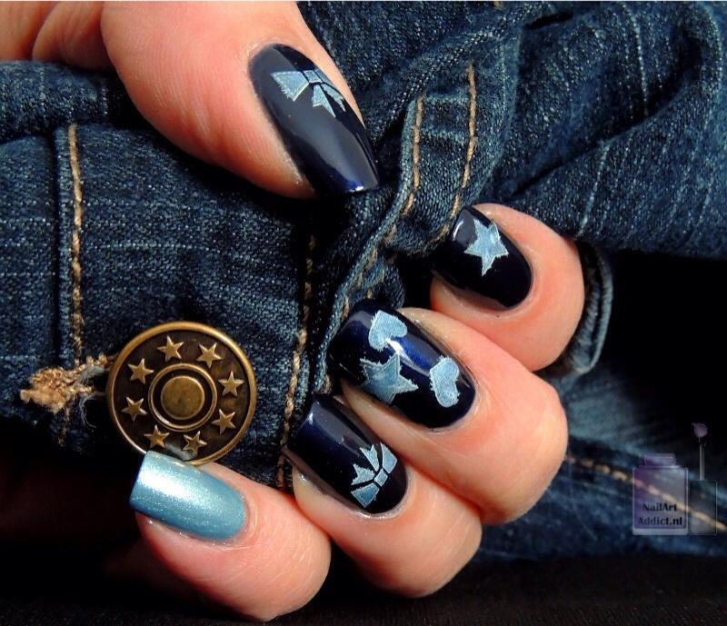 Girly Jeans nail art by Viv