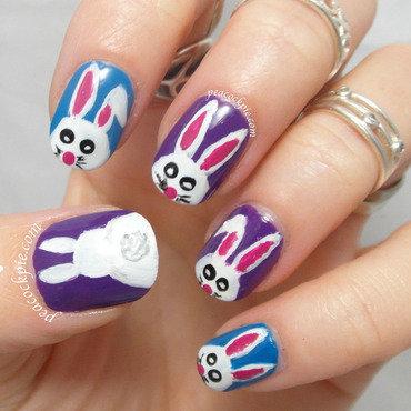 Cotton Tail Bunnies nail art by Serra Clark