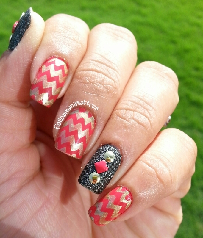 Chevrons and Studs nail art by Manisha Manimatters