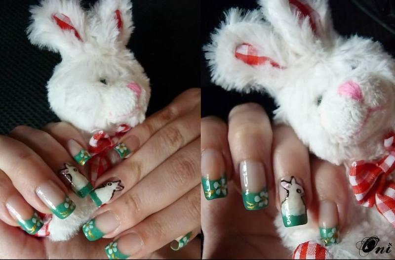 Bunny nails nail art by Stegaru  Oana