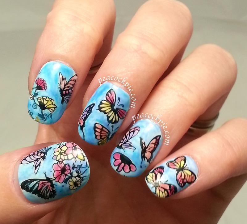 Lead Light Butterflies nail art by Serra Clark