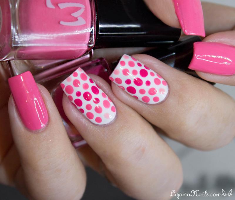 Pois roses nail art by Lizana Nails
