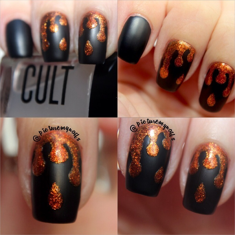 Matte vs shiny drips nail art by Picture My Nails