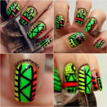 Neon tribal nail art by Picture My Nails