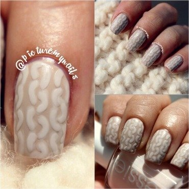 Knitted nails nail art by Picture My Nails