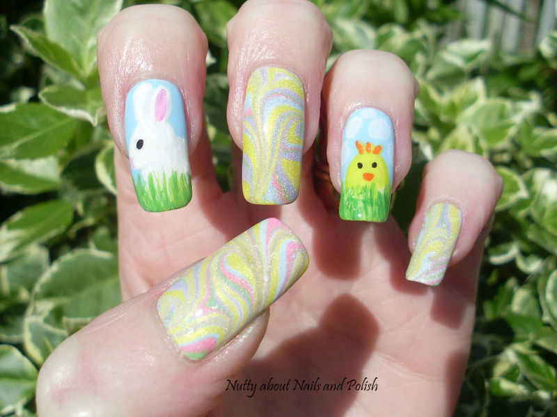 Bunny and Chick nail art by Tracey - Bite no more
