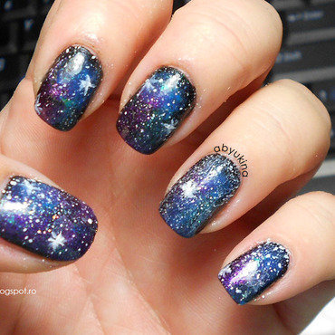 Beyond Galaxy nail art by Aby