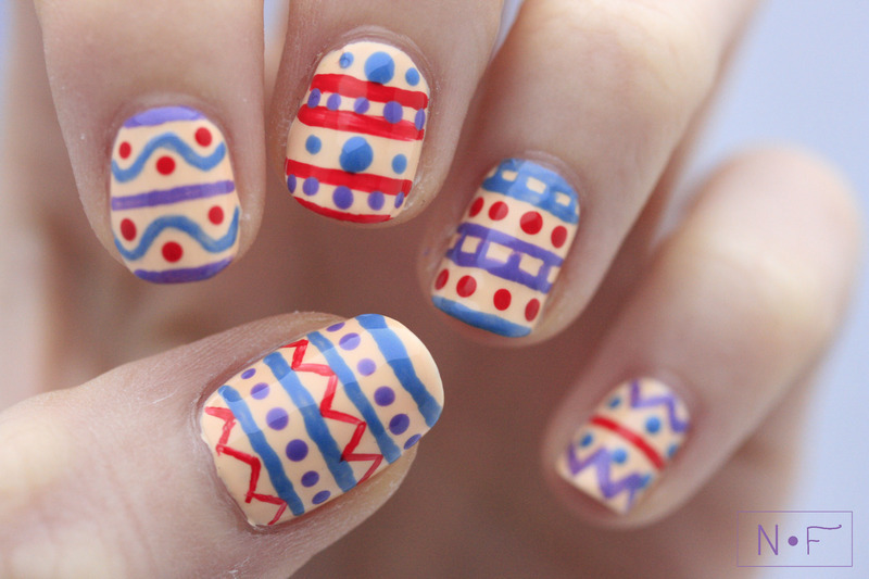 painted eggs pattern nail art by NerdyFleurty