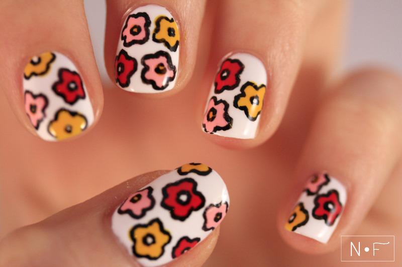 Blog flowers nail art by NerdyFleurty