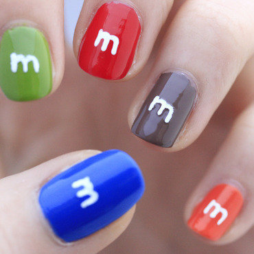 M&M's nail art by NerdyFleurty