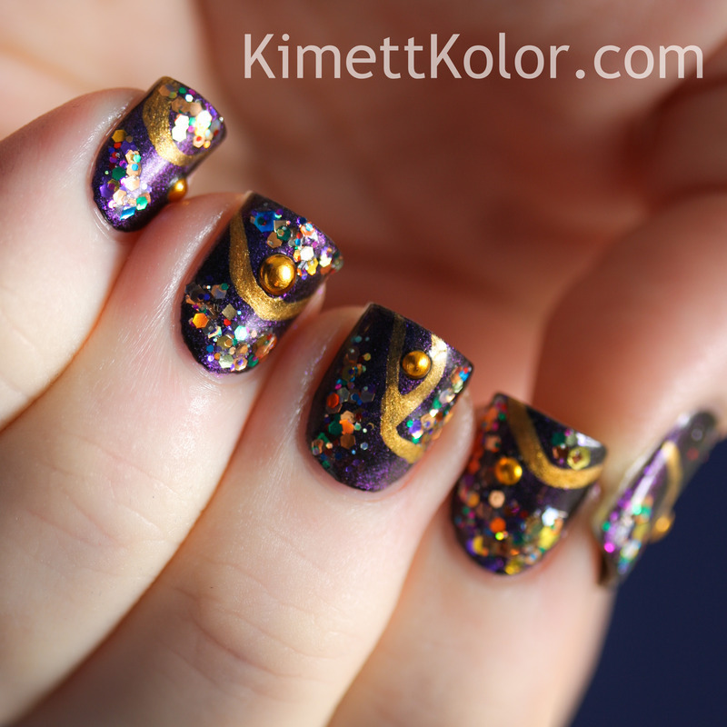 My Inner Dragon Likes Crows Toes nail art by Kimett Kolor