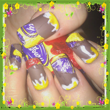 Cadbury's Creme Egg nails nail art by Dawn