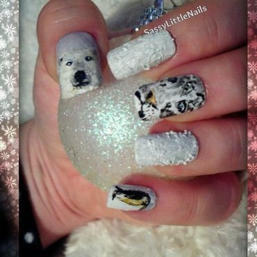 winter animals nail art by Dawn