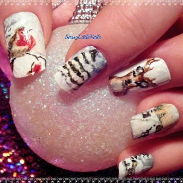 Christmas scene nail art by Dawn