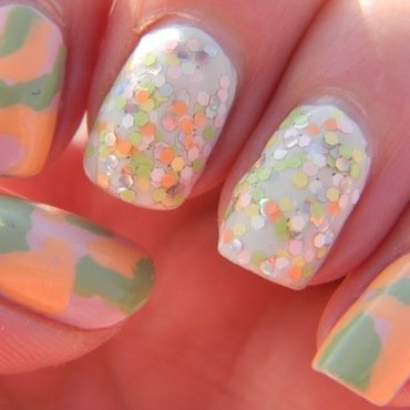 Pastel Camo nail art by Polishfreshie