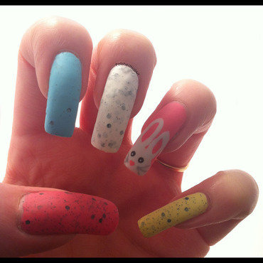 Easter eggs and the Easter bunny nail art by Carrie