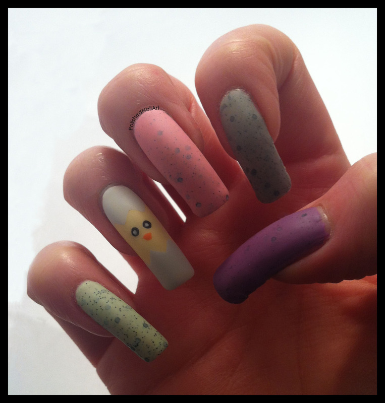 Easter Eggs and an Easter Chick (non dominant hand) nail art by Carrie