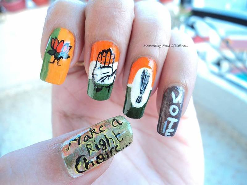 Go India,Vote!  nail art by Anubhooti Khanna