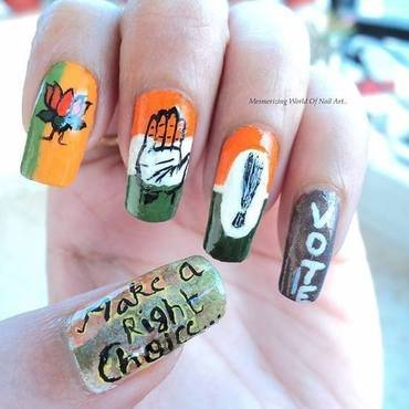 Go India,Vote!  nail art by Anubhooti Khanna