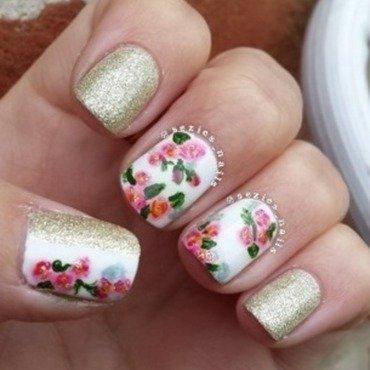 Glitter flowers  nail art by Sarah Bellwood