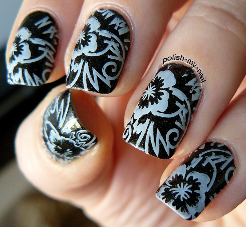 Black&white nail art by Ewlyn
