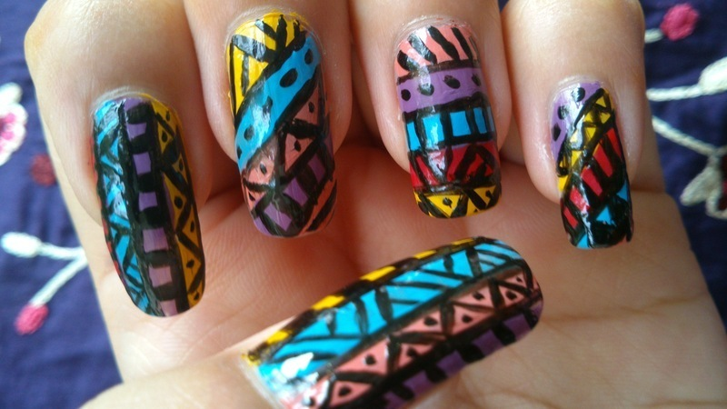 Aztect Nail Art nail art by Haniya Sajid