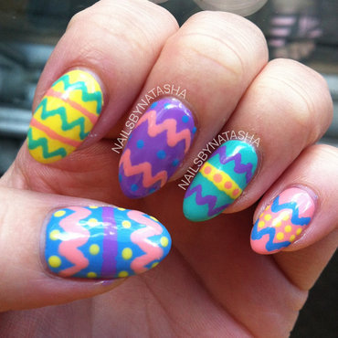Easter Eggs  nail art by Natasha