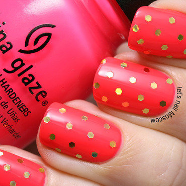China glaze pool party swatch neon bright pink review simple mail art nailart                                                       lets nail moscow1 thumb370f