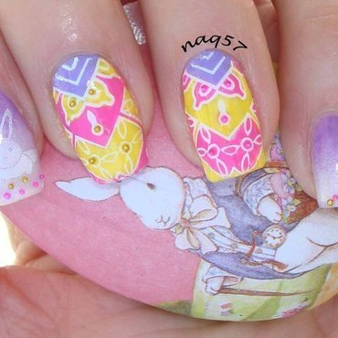 Easter Bunny & Easter Eggs nail art by Nora (naq57)