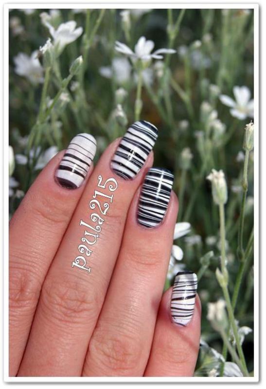 black and white nail art by Paula215. NAILS