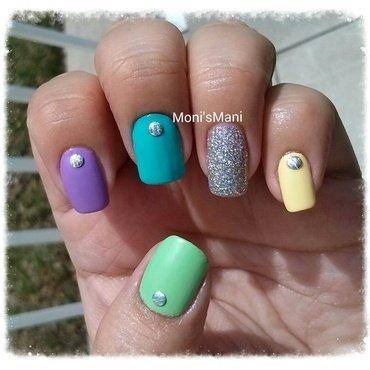matte spring skittle nail art by Moni'sMani