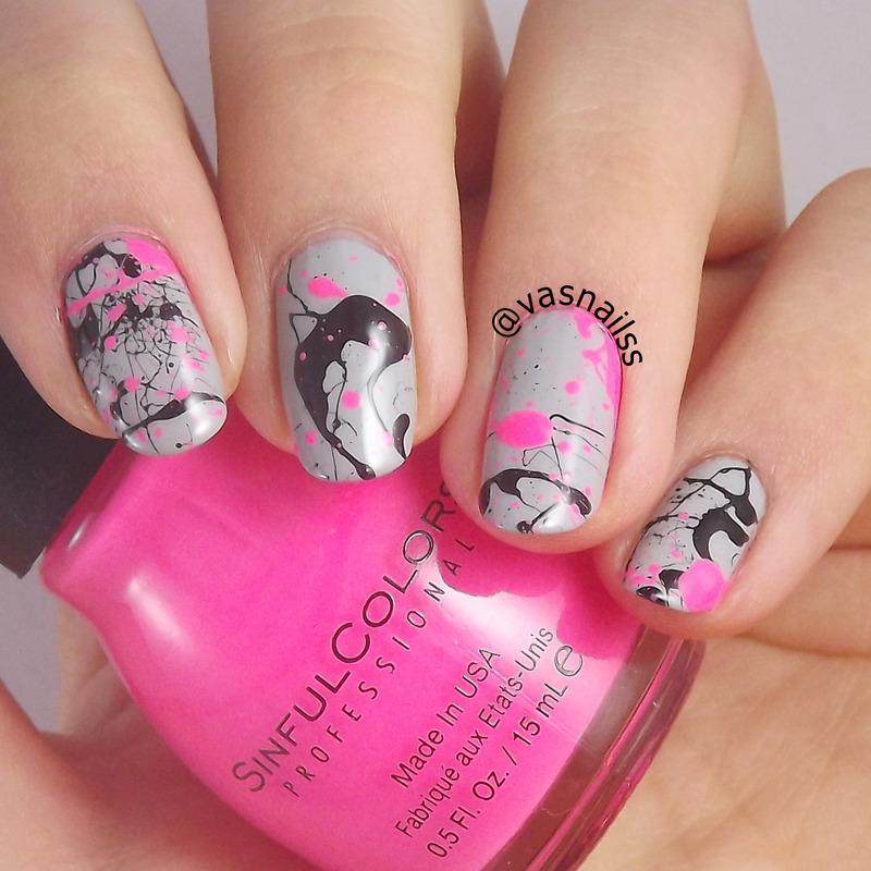 Splatter nail art by  Vanesa