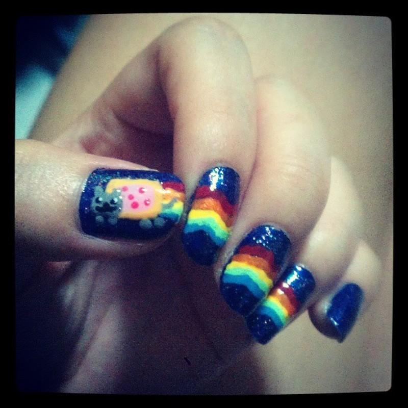 Nyan Cat ! nail art by JingTing Jaslynn