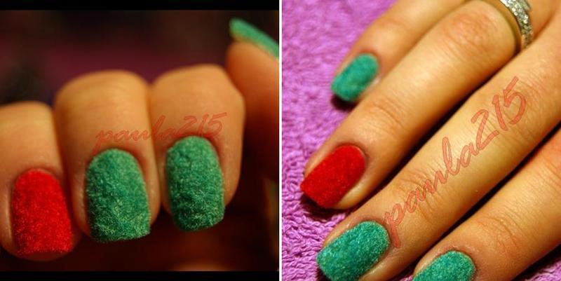 Velvet flocked nails. nail art by Paula215. NAILS