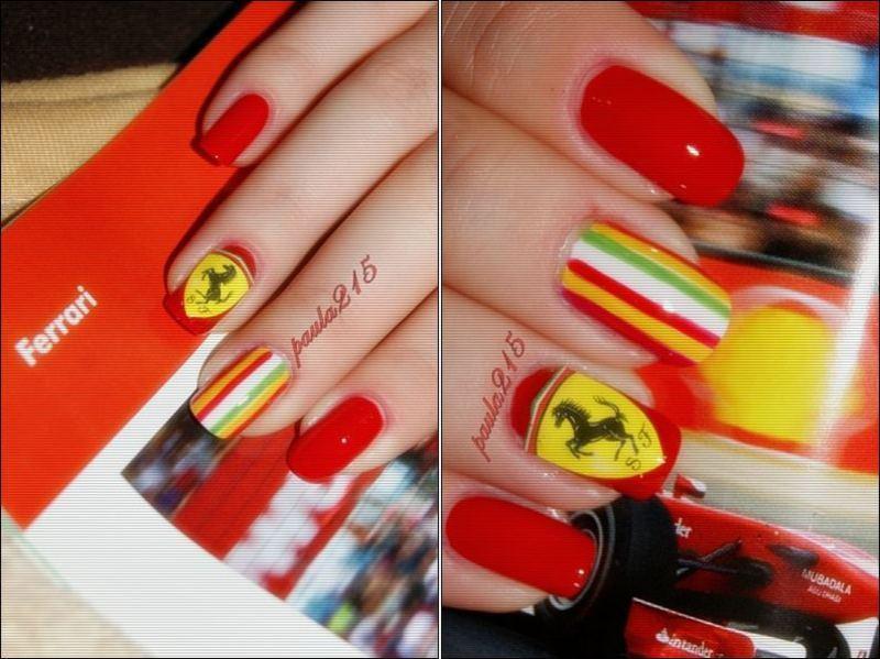 Ferrari. nail art by Paula215. NAILS