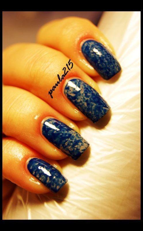 Plastic wrap nails. nail art by Paula215. NAILS
